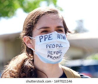 Alameda, CA - April 7, 2020: Nurses at Alameda Hospital protesting inadequate Personal Protective Equipment, or PPE, among other concerns.