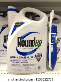 Alameda, CA - August 14, 2018: Store shelf with containers of RoundUp weed killer. A San Francisco jury just ruled that Roundup gave a former school groundskeeper terminal cancer.