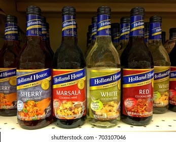 Alameda, CA - August 20, 2017: Grocery store shelf with bottles of Holland House cooking wines. Sherry, Marsala, White and Red cooking wine make it bold.