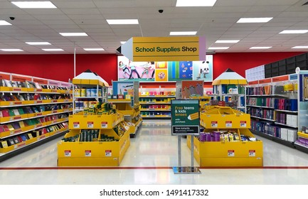 Alameda, CA - August 29, 2019: big box store isles with various school supplies. Back to school concept geared to shopping for a kindergartner, college student, and any student in between