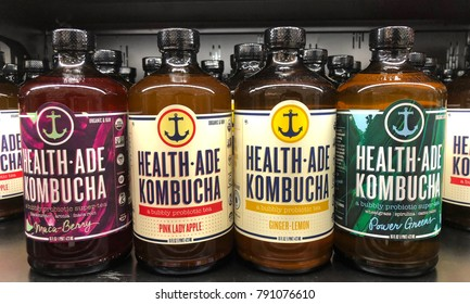 Alameda, CA - December 31, 2017: Grocery store shelf with bottles of Health Ade Kombucha in various flavors. Kombucha is fermented tea,  naturally rich in probiotics and healthy organic acids