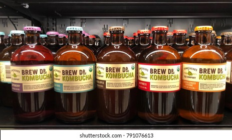 Alameda, CA - December 31, 2017: Grocery store shelf with bottles of Brew DR Kombucha in various flavors. Brew Dr. is a 100 percent raw kombucha with the most naturally occurring probiotics possible.