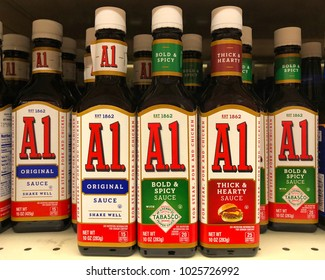 Alameda, CA - February 15, 2018: Grocery store shelf with bottles of A1 steak sauce. A.1. Sauce is a brand of steak sauce produced by Kraft Foods.