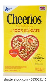 Alameda, CA - February 17, 2017: One 12 ounce box of General Mills brand Cheerios. 100 percent whole grain toasted oat cereal.