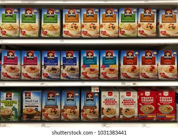 Alameda, CA - February 17, 2018: Grocery store shelf with boxes of Quaker brand instant oatmeals in various flavors. Quaker Instant Oatmeal comes in 1.5 oz single serving packets and usually flavored.
