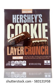 Alameda, CA - February 19, 2017: Multipack bags of Hershey's brand Cookie Layer Crunch candy bars. Milk chocolate bars with chocolate cookie bits and vanilla flavored creme with other natural flavor.