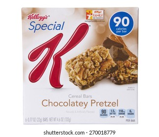 ALAMEDA, CA - FEBRUARY 23, 2015: Illustrative Editorial of one 4.6 ounce box of Kellogg's brand Chocolatey Pretzel Special K Cereal Bars. Six bars per box.