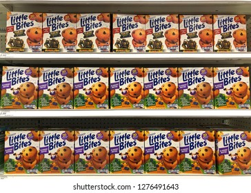 Alameda, CA - January 03, 2018: Grocery store shelf with boxes of Entenmanns brand little bites muffins. Blueberry and chocolate chip flavors.