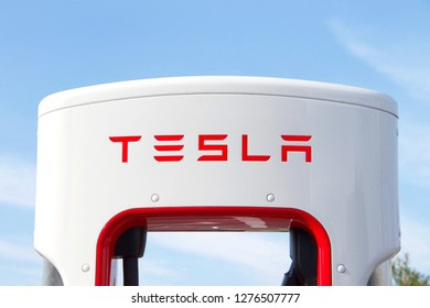 Alameda, CA - January 04, 2019: Alameda's first Tesla supercharger station went online in mid-December 2018. It has 12 stalls, each providing half of a charge in about 30 minutes.