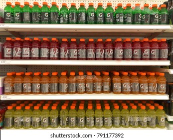 Alameda, CA - January 10, 2017: Grocery store shelf with bottles of Gatorade in various flavors. Gatorade is currently manufactured by PepsiCo and is distributed in over 80 countries.