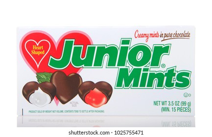 Alameda, CA - January 19, 2018: Box of Junior Mints candy, Valentine's edition. Produced by Tootsie Roll Industries, which markets internationally in Canada, Mexico, and over 75 other countries.