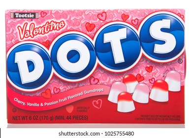 Alameda, CA - January 19, 2018: Box of Dots candy, Valentine's edition.  Mason Dots is a brand of gum drops marketed by Tootsie Roll Industries, which claims has become America's no1 selling gumdrop.