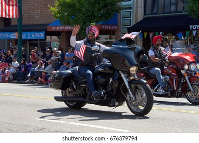 Alameda, CA - July 04, 2017: Unidentified participants in the Alameda 4th of July Parade, one of the largest and longest Independence Day parade in the nation.