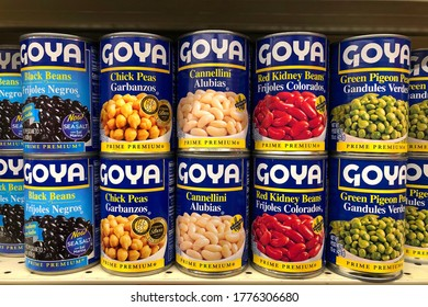Alameda, CA - July 14, 2020: Grocery store shelf with cans of GOYA beans in various flavors. Goya Foods, Inc., is a producer of a brand of foods sold in the United States and many Hispanic countries.