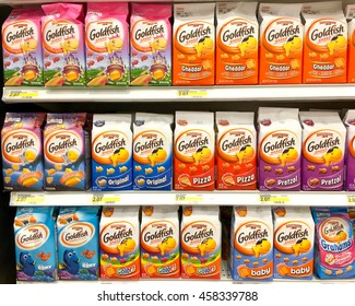 Alameda, CA - July 19, 2016: Grocery Store Shelf with packages of Goldfish Crackers, many flavors. Goldfish are manufactured by Pepperidge Farm, a division, of Campbell Soup Company.