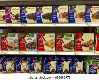 Alameda, CA - July 21, 2017: Grocery store shelf with Atkins brand protein nutrition bars and drinks. Atkins low carb diet program uses a powerful life-time approach to successful weight loss