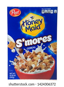 Alameda, CA - June 13, 2019: Box of Post brand Honey Maid S'mores flavor cereal isolated on white. Post Consumer Brands is an American consumer cereal manufacturer.