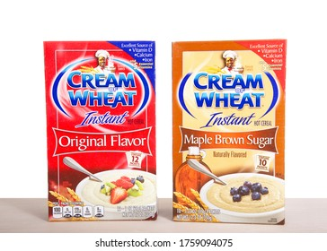Alameda, CA - June 18, 2020:  Boxes of Instant Cream of wheat instant cereal, original and brown sugar, a type of breakfast porridge mix made from wheat semolina.
