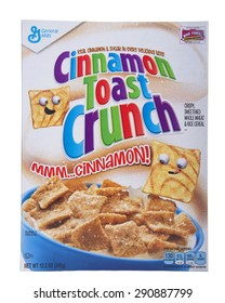 ALAMEDA, CA - JUNE 22, 2015: 12.2 ounce box of General Mills Brand Cereal. Cinnamon Toast Crunch. Real Cinnamon and sugar in every delicious bite.