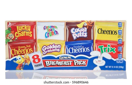 Alameda, CA - March 06, 2017: General Mills brand cereals, 8 breakfast packs. General Mills is one of the World's largest food Companies
