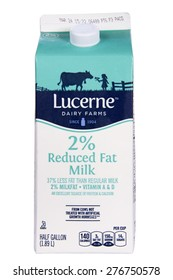 ALAMEDA, CA - MARCH 12, 2015: Illustrative Editorial of one half gallon carton of Lucerne   brand 2 percent Reduced Fat Milk.