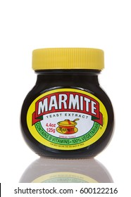 Alameda, CA - March 13, 2017: Marmite brand Yeast Extract. A by-product of beer brewing, enjoyed on toast for breakfast, in sandwiches at lunchtime. Popular in Australia and Britain.