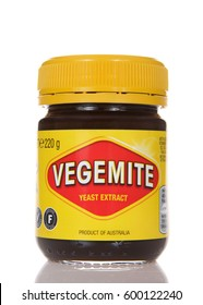 Alameda, CA - March 13, 2017: Vegemite brand Yeast Extract, a thick black Australian food spread made from leftover brewers yeast extract with vegetables and spice. Popular in Australia and Britain.