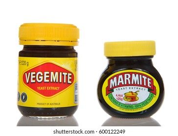 Alameda, CA - March 13, 2017: Bottles of Vegemite and Marmite brand yeast extract. Vegemite and Marmite are brown pastes made from yeast extract, popular in Australia and throughout Britain.