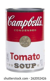 ALAMEDA, CA - MARCH 19, 2015: Illustrative Editorial of one 10.75 ounce can of Campbell's brand Condensed Tomato Soup.