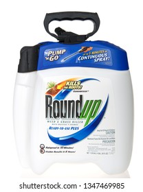 Alameda, CA - March 21, 2019: 1 Gallon container of RoundUp Weed killer, ISOLATED on white. A San Francisco jury  ruled that Roundup gave a former school groundskeeper terminal cancer.