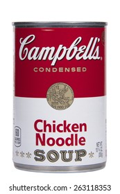 ALAMEDA, CA - MARCH 23, 2015: Illustrative Editorial of one 10.75 ounce can of Campbell's brand Condensed Chicken Noodle Soup.
