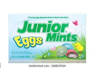 Alameda, CA - March 23, 2019: One box of Junior Mints, Easter egg limited edition, isolated on white