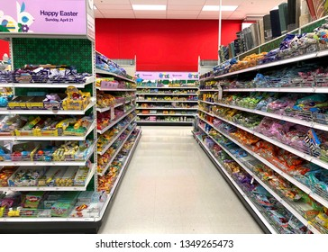 Alameda, CA - March 25, 2019: Easter candy display on shelves in isle of store. Candy sales spike during this second top-selling candy holiday as eager consumers fill Easter baskets to the brim.