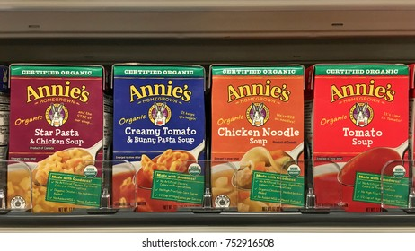 Alameda, CA - November 09, 2017: Grocery store shelf with containers of Annie's brand organic soups. Annie's NEW certified organic soups come in a whole bunch of delicious flavors.