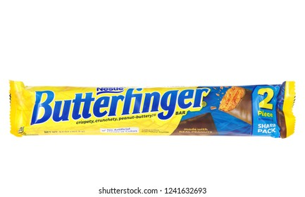 Alameda, CA - November 15, 2018: One 2 pack of Nestle brand Butterfinger candy bar. Nestle is the largest food company in the world since 2014.
