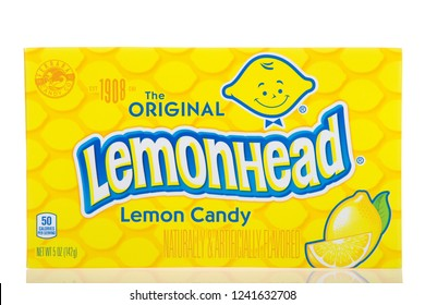 Alameda, CA - November 19, 2018: Box of original Lemon Head candy. Lemonhead is an American brand of candy, first introduced in 1962, produced by the Ferrara Candy Company.