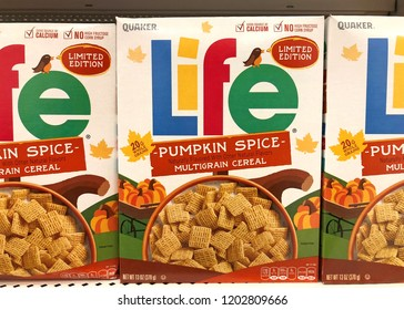 Alameda, CA - October 01, 2018: Limited edition Box of Life cereal, pumpkin spice flavor. Life cereal was introduced in 1961 by the Quaker Oats Company