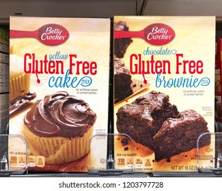Alameda, CA - October 01, 2018: Grocery store shelf with boxes of Betty Crocker brand Gluten Free cake mix and brownie mix. A gluten-free diet is recommended for people with celiac disease.