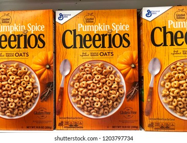 Alameda, CA - October 01, 2018: Grocery store shelf with boxes of General Mills brand Cheerios, Limited Edition Pumpkin Spice flavor. General Mills is headquartered in Golden Valley, Minnesota.