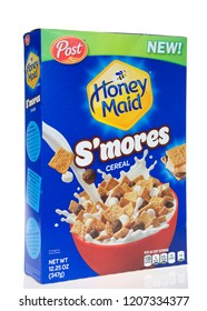 Alameda, CA - October 02, 2018: Box of Post brand Honey Maid cereal, s'mores flavor. Isolated on a white background.