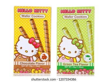 Alameda, CA - October 02, 2018: Boxes of Hello Kitty wafer cookies. Chocolate and Green Tea Flavors. Isolated on white background. Created by Sanrio, a Japanese company.