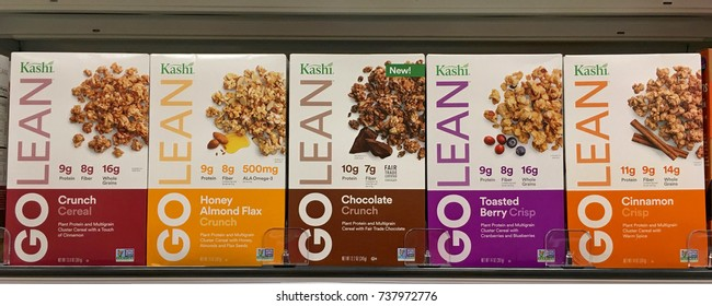 Alameda, CA - October 05, 2017: Store shelf with boxes of Kashi GOLEAN granola cereals. a lightly sweetened mix of crunchy fiber twigs, crispy soy protein grahams, and honey-toasted whole grain puffs