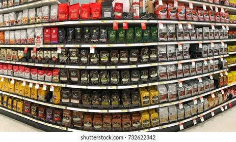 Alameda, CA - October 10, 2017: Grocery store isle with packages of various brands of coffee beans and ground coffee. Coffee represents 75 percent of all the caffeine consumed in the United States.