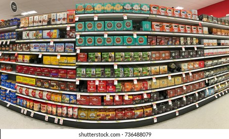 Alameda, CA - October 16, 2017: Grocery store shelf with boxes of instant K cup coffee's in various brands. Sales of the single-serve cups more than tripled in the United States between 2011 and 2013.