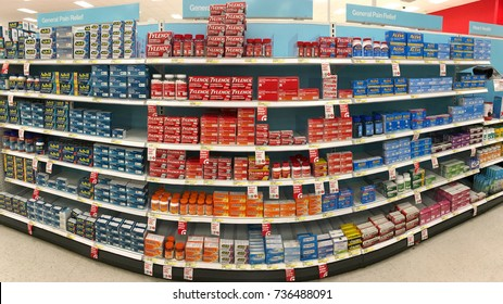 Alameda, CA - October 16, 2017: Store shelf with over the counter (OTC) pain relief products. The most common types of OTC pain medicines are acetaminophen and nonsteroidal anti-inflammatory