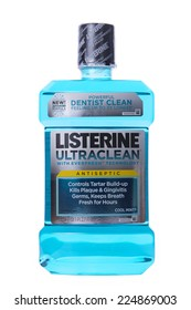 ALAMEDA, CA - OCTOBER 19, 2014: 1.5 Liter bottle of Listerine brand Mouth Wash. Ultra Clean with Everfresh Technology. Controls Tartar Build-up, Kills Plaque and Gingivitis Germs, Keeps Breath Fresh.