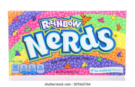 Alameda, CA - October 29, 2016: One 5 ounce box of Rainbow Nerds candy. No artificial flavorings