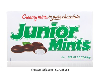 Alameda, CA - October 29, 2016: One 3.5 ounce box of Junior Mints. Creamy mints in pure chocolate.