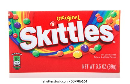 Alameda, CA - October 29, 2016: One 3.5 ounce box of Original Skittles brand bite sized candy. Natural and artificially flavored.