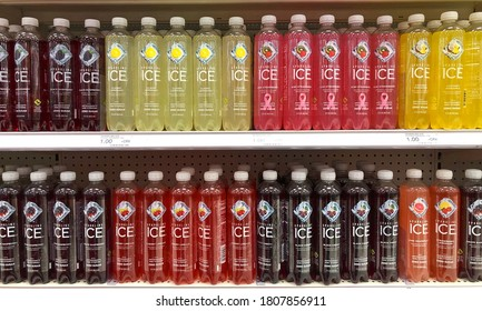 Alameda, CA - Sept 2, 2020: Grocery Store Shelf with bottles of Sparkling Ice brand flavored water. One of the fastest growing non-alcoholic beverage brands in the country.